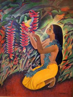 Yellow Bird 1995 42x32 Original Painting - Zhou Ling