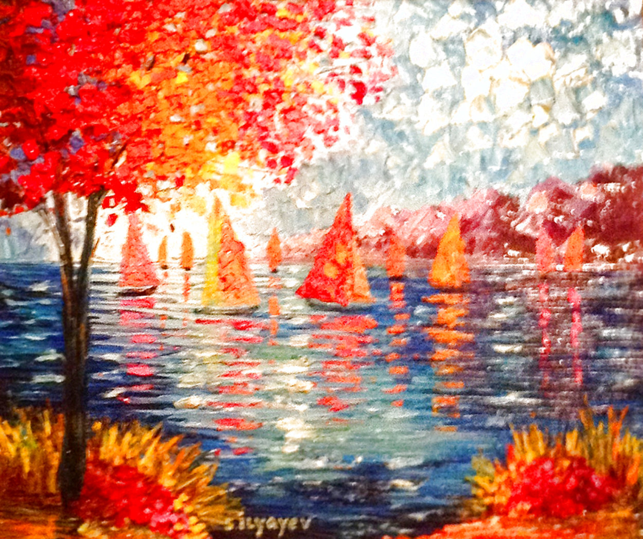 Out on the Water 2015 31x35 Huge Original Painting by Slava  Ilyayev