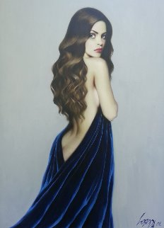 Girl in Blue 2001 53x37 Original Painting - Taras Loboda