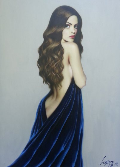 Girl in Blue 2001 53x37 Original Painting by Taras Loboda