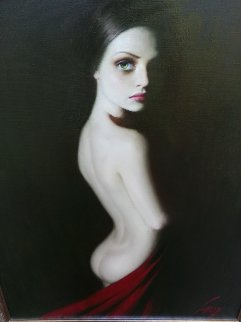 Lady in Red 2004 49x37 Original Painting - Taras Loboda