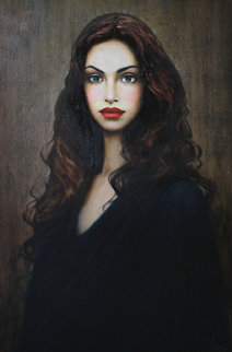 Green Eyes 31x43 Original Painting - Taras Loboda