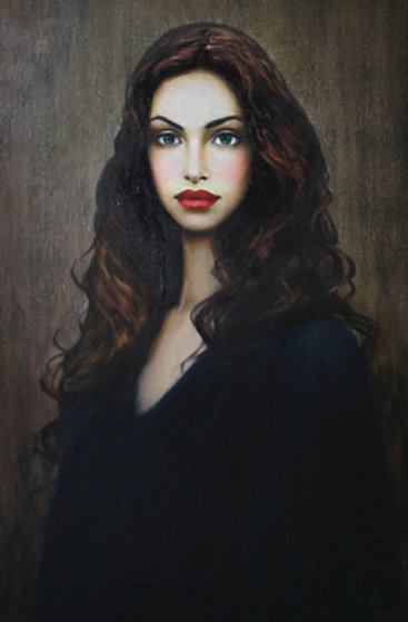 Green Eyes 31x43 Original Painting by Taras Loboda