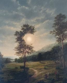 English Landscape 1982 52x44 Super Huge Original Painting - Thomas Locker