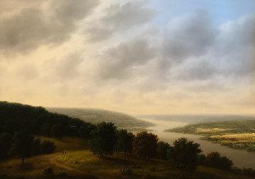River 1979 40x48 Super Huge Original Painting - Thomas Locker