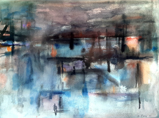 Untitled Watercolor 1959 23x27 Watercolor by Michael  Loew