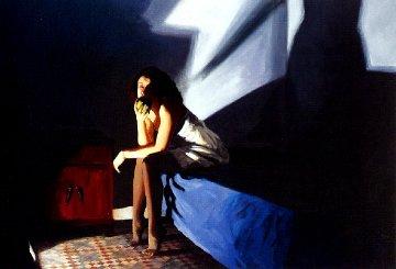 De Puntillas 1997 35x47 Original Painting - Ramon Lombarte