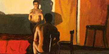 No Te Quites Us Manos 1998 16x24 Original Painting - Ramon Lombarte