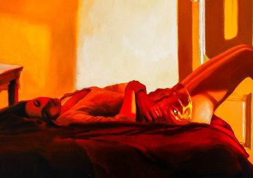 Medias Rosas 1995 39x23 Original Painting - Ramon Lombarte