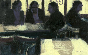 Barcelona Bar Sarria 1990 5x7 in Original Painting by Ramon Lombarte