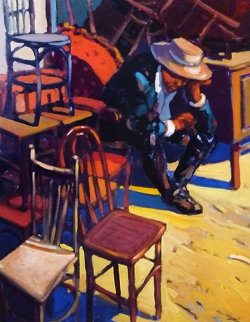 Antique Chairs Barcelona 1990 36x28 Original Painting - Ramon Lombarte