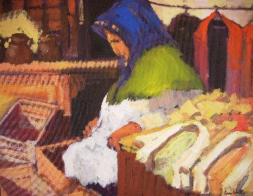 Woman in Encants 1986 19x19 Original Painting - Ramon Lombarte
