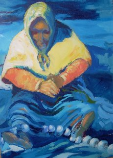 Fisherwoman 1988 20x14 Original Painting - Ramon Lombarte