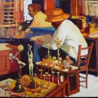 Encants Candels 1988 50x50 Original Painting - Ramon Lombarte