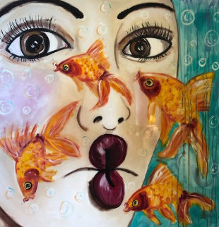 Fish Face  2007 40x40 Original Painting by Ashley Longshore