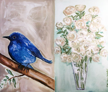 Bluebird and White Roses 2008 30x36 Original Painting - Ashley Longshore