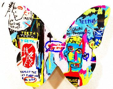 Pink Basquiat Butterfly Wood Sculpture 2019 12x12 Sculpture - Ashley Longshore