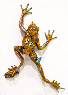 Sticky Climber (Frog Wall  Piece) Bronze Sculpture 2006 14 in Sculpture by Nano Lopez