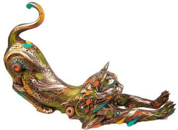 Gatin the Cat Bronze Sculpture 2005 11 in Sculpture - Nano Lopez