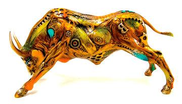 Torito Bronze Sculpture 2008 14 in Sculpture by Nano Lopez