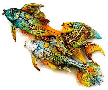 Fishes Going Left Bronze Sculpture 2014 10 in  Sculpture - Nano Lopez