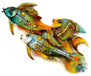Fishes Going Left Bronze Sculpture 2014 10 in  Sculpture by Nano Lopez