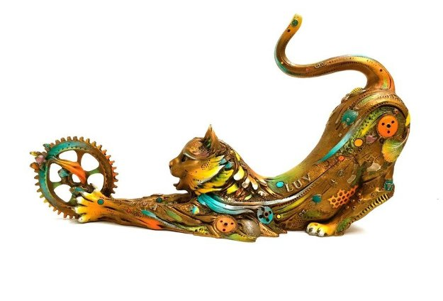 Catfish Lily Large Bronze Sculpture 31.5 in, With Artist Sketch Sculpture by Nano Lopez