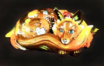 Foxy (Micro) Bronze Sculpture 3 in Sculpture - Nano Lopez