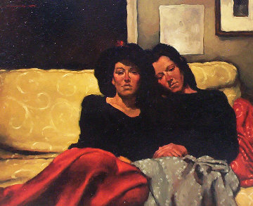 Between Sisters 1990 22x26 Original Painting - Joseph Lorusso