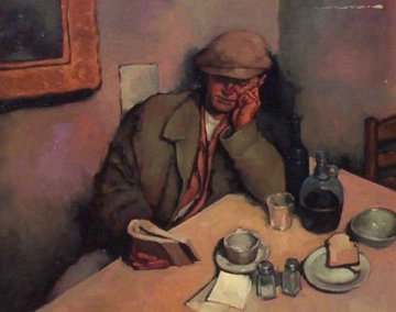 Late Night Read 1990 22x26 Original Painting - Joseph Lorusso