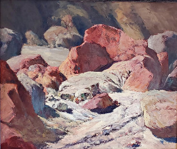 Symphony in Red (Painted Canyon, Near Mecca) 1965 28x33 Original Painting - Ralph Love