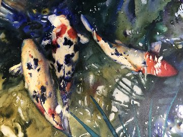 Untitled Koi Watercolor 1997 28x39 Watercolor - Kent Lovelace