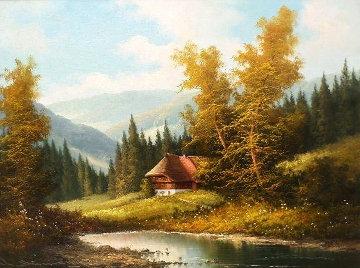 Alder Bauernhaus Im Schwarzwald 1969 38x30 Original Painting - Ludwig Muninger
