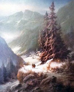 Untitled (Evening Mountain Scene) 44x34 Original Painting - Ludwig Muninger