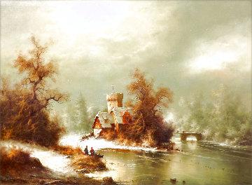 Winter Landscape 1973 33x44 Original Painting - Ludwig Muninger