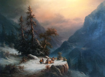 Untitled  Winter Landscape 38x48 Original Painting - Ludwig Muninger