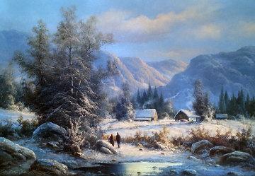 Winter Landscape 30x42 Huge Original Painting - Ludwig Muninger