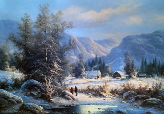 Winter Landscape 30x42 Original Painting by Ludwig Muninger