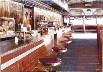 American Diner Acrylic 35.5x51 in, 2001 Original Painting - Luigi Rocca