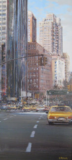 Towards Central Park South 2002 New York 31x16 Original Painting - Luigi Rocca
