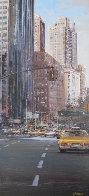 Towards Central Park South 2002 New York 31x16 Original Painting by Luigi Rocca - 2