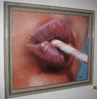 Untitled - Lips with Straw 1986 24x27 Original Painting by Luigi Rocca - 1
