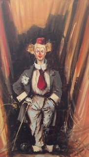 Clown Behind the Scenes 1975  27x19 Original Painting - Luigi Rocca