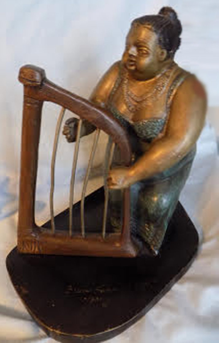 Harpist Bronze Sculpture 1990 10 in Sculpture by Bruno Luna