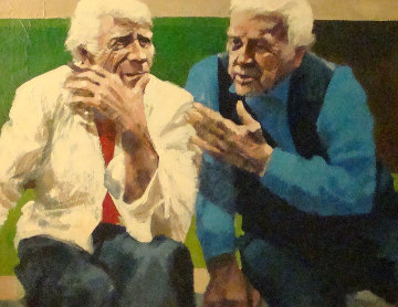Conversation in the Park 1982 37x42 Original Painting - Aldo Luongo