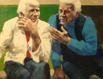 Conversation in the Park 1982 37x42 Huge Original Painting - Aldo Luongo