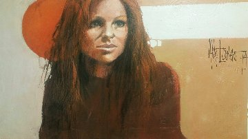 Untitled Girl 1974 29x47 Original Painting - Aldo Luongo