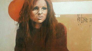 Untitled Girl 1974 29x47 Huge Original Painting - Aldo Luongo