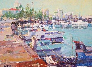 San Diego  1985 47x55 California Original Painting - Aldo Luongo