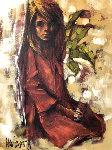 Red Dress 1969 38x48 Original Painting - Aldo Luongo